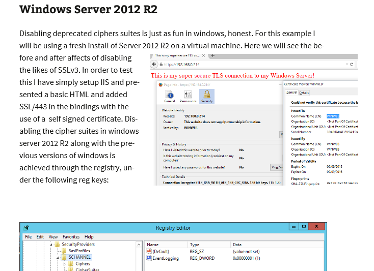 Changing SSL TLS cipher suites on Windows Server 2012 R2