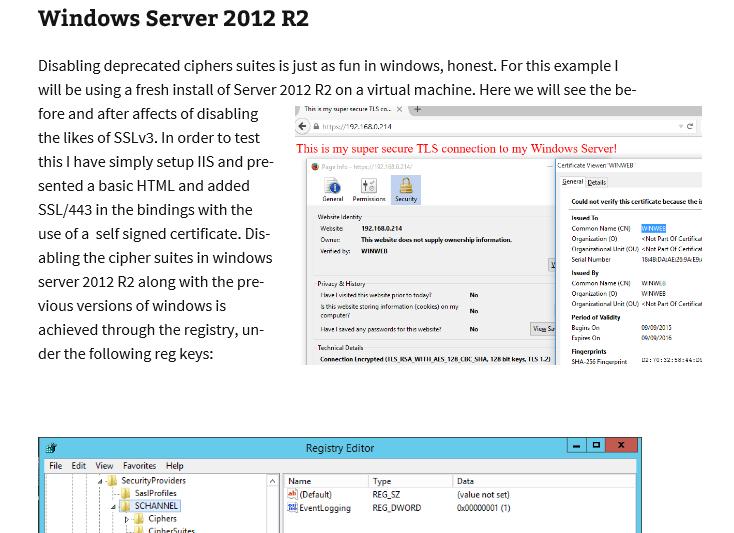 Changing SSL TLS cipher suites on Windows Server 2012 R2