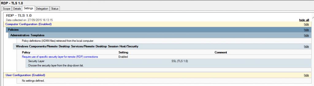 RDP - TLS 1.0 GPO