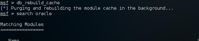Metasploit db cache rebuild