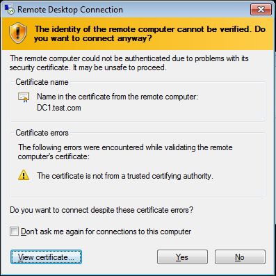 Implementing Remote Desktop with Certificates
