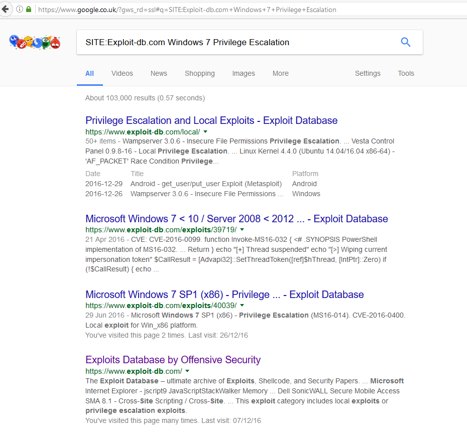 Google search of the Exploit-DB