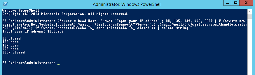 Conducting a PowerShell Port Scan - Post Exploitation