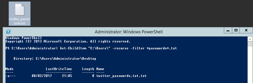 Searching for files in powershell