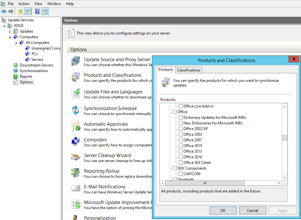 WSUS Products and Classifications