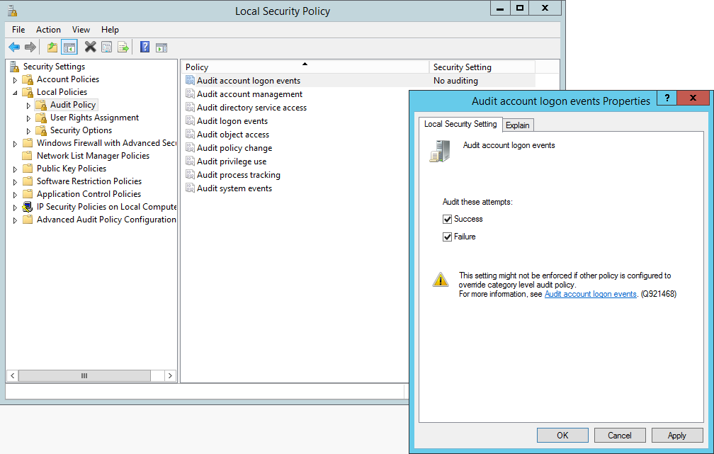 Windows Auditing Local Security Policy