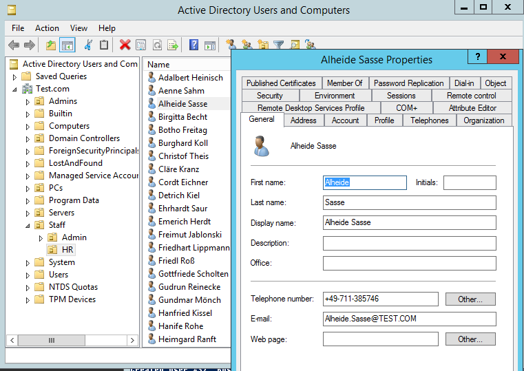 Creating realistic test user accounts in Active Directory 3